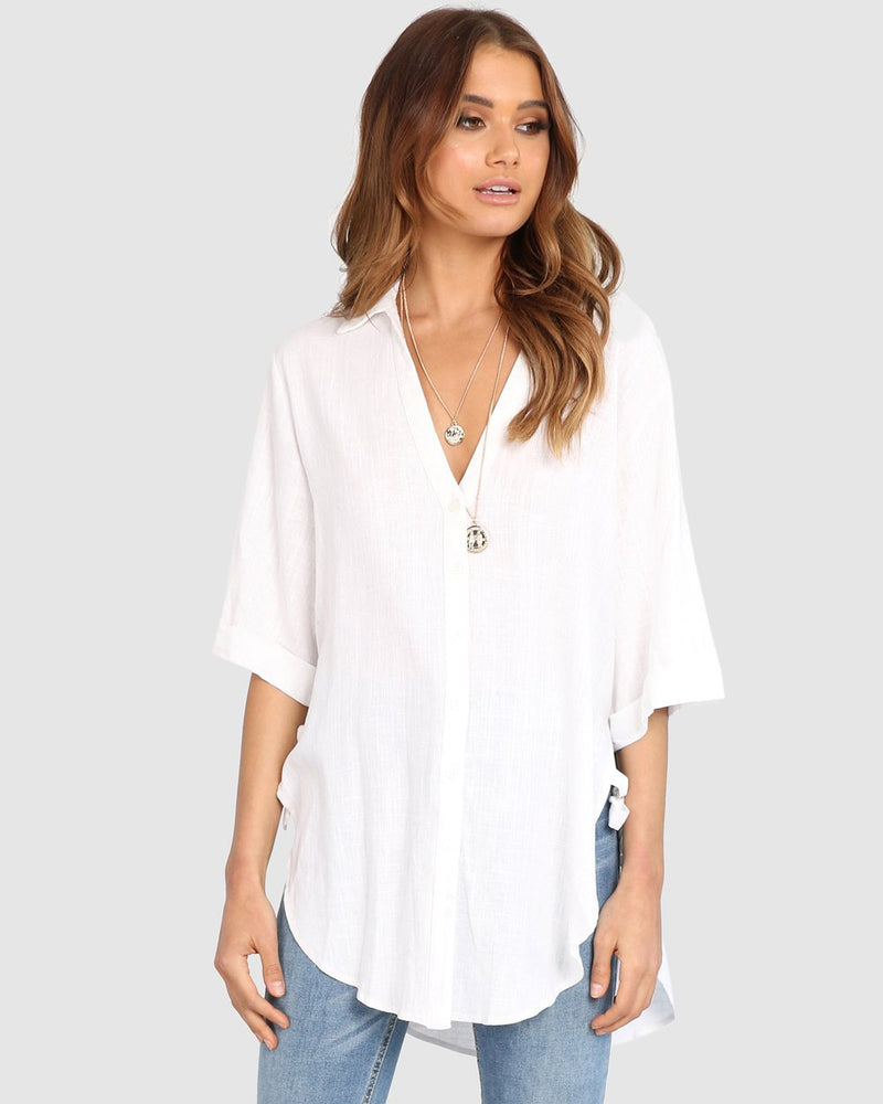 Blouse en lin blanc Lost in Lunar Samara White Linen Blouse.