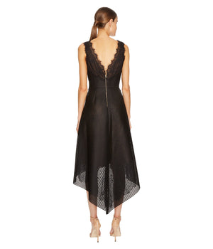 Marchesa Notte Neoprene High-Low Cocktail Dress. Robe de cocktail