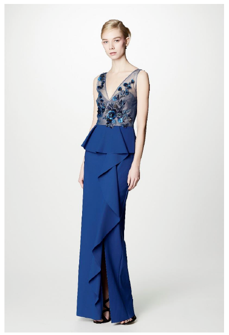 Marchesa Notte Embroidered Sequined Column Gown. Robe longue à ornements  brodées ...