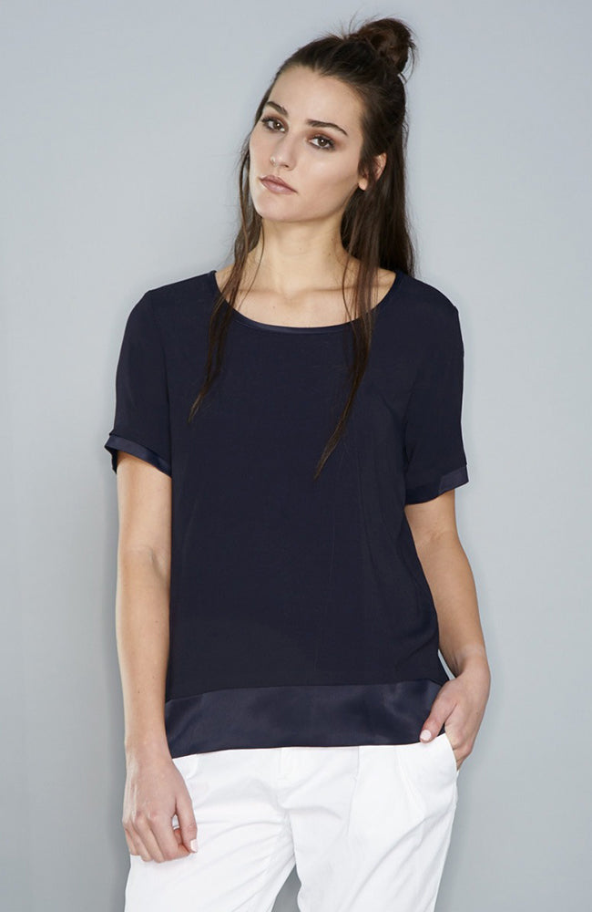 Max Volmary Short Sleeve Silk Top Navy