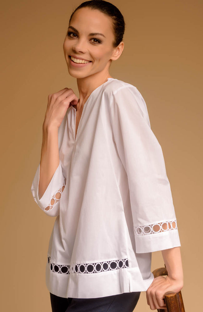 Haut blanc Max Volmary V-Neck White Top with Sleeve Detail