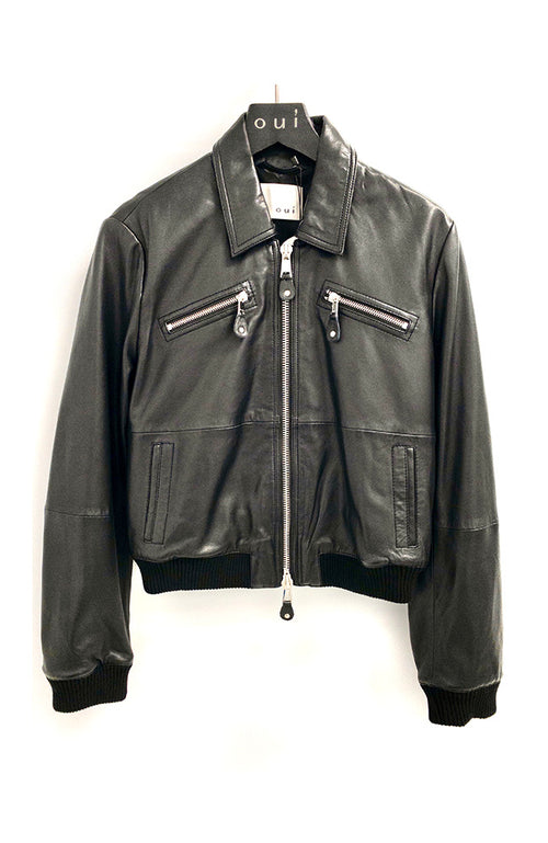 Oui Black Leather Jacket Veste en cuir noir