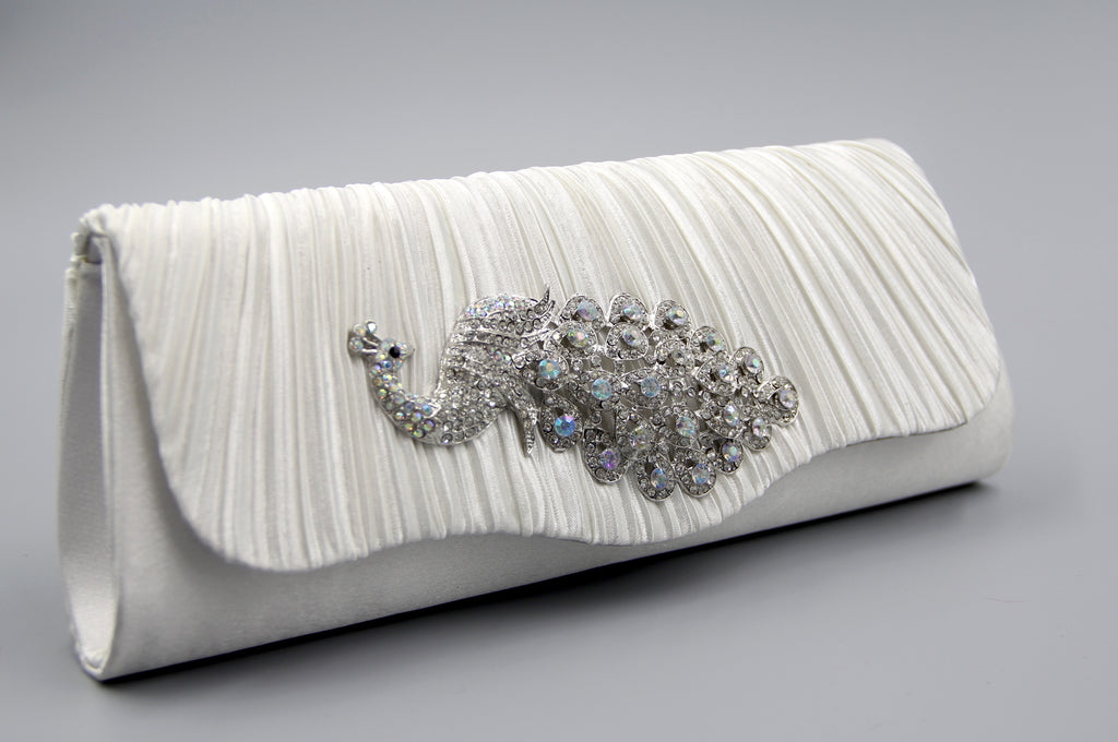 Peacock Crystal Evening Clutch Bag  Pochette de soirée de bal.