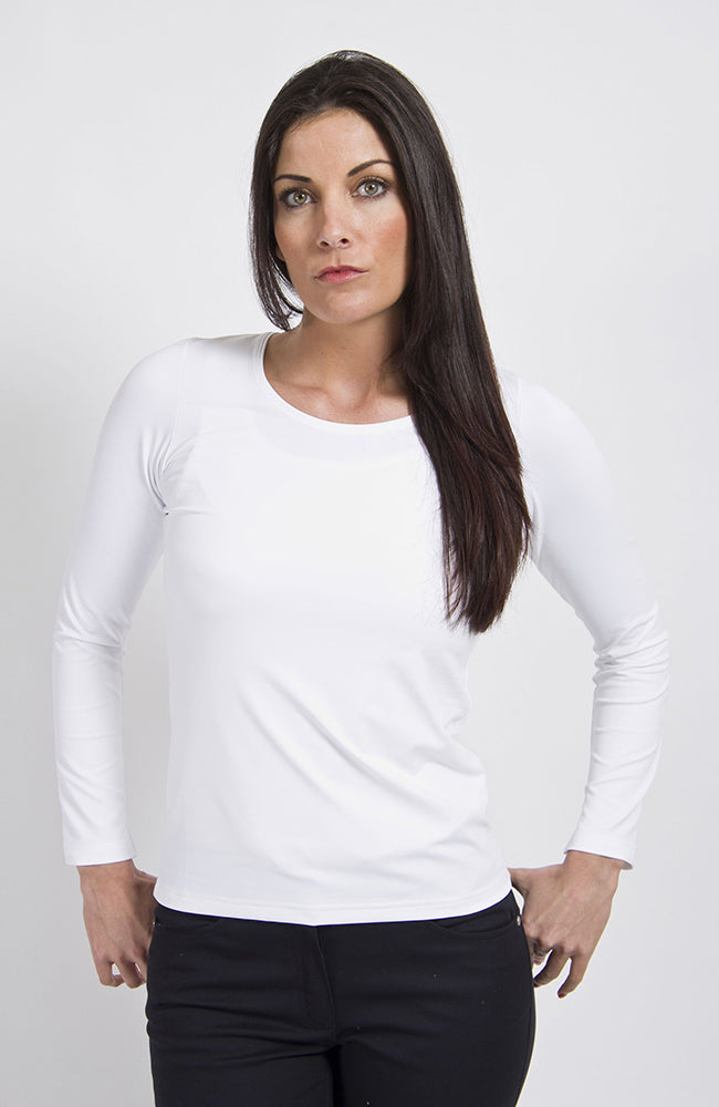 Peruzzi Round Neck Long Sleeve Stretch Top White