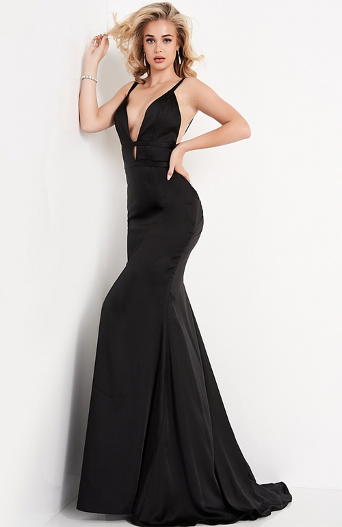 JOVANI Satin Robe de Bal  Noire Gown Deep V Open Back Black