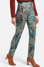 Ankle-length trousers by RAFFAELLO ROSSI. Design PENNY. Pull-on trousers that are both trendy and comfortable. Made of super-stretchy, soft woven fabric with a stylish ornamental print. These slim fit, flattering trousers with decorative seam and small hem slit at the back feel like a second skin and are a stylish addition to your wardrobe! 58% viscose, 35% polyester, 7% elastane. Inside leg length approx. 29 ins. Ankle width approx. 11 ins. The ankle-length trousers are machine washable.