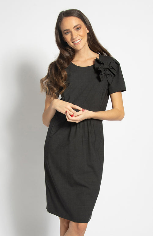 Riani Wool Midi Dress with Shoulder Bows