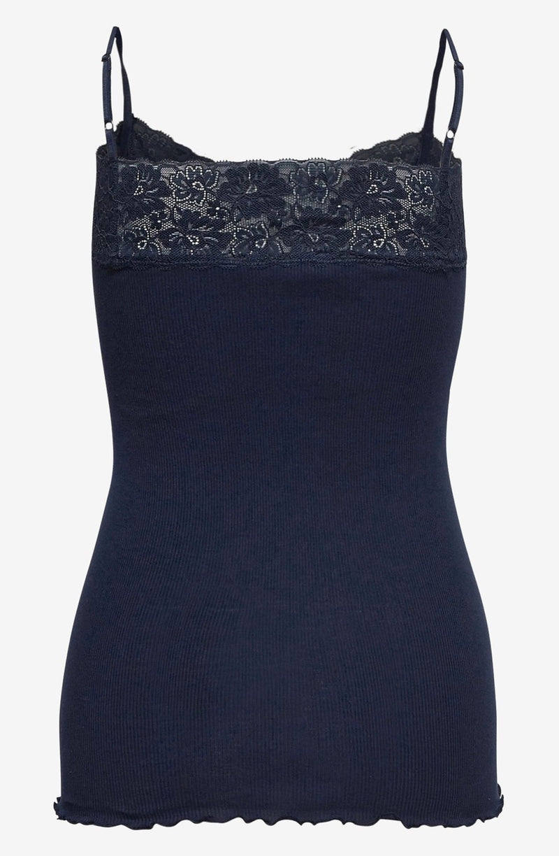 Rosemunde Spaghetti Straps Organic cotton and lace Top Navy