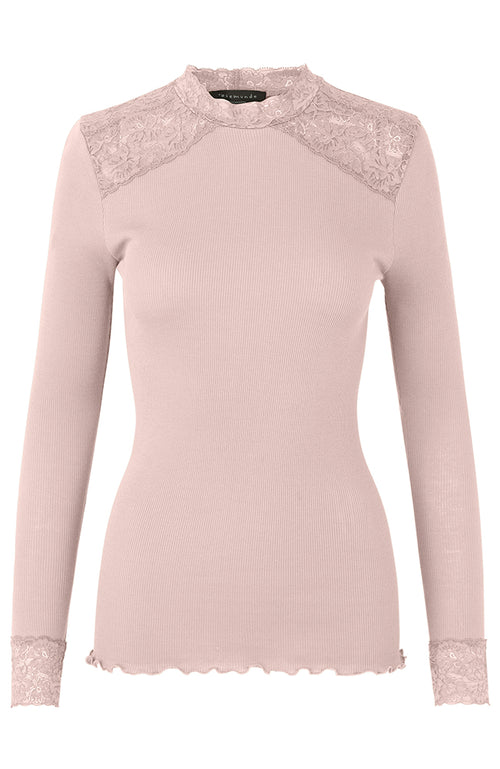 Rosemunde Organic Cotton Top with Lace Mock Neck