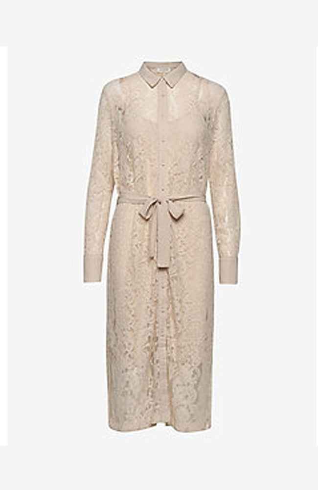 Rosemunde Button Down Lace Dress with Belt Beige