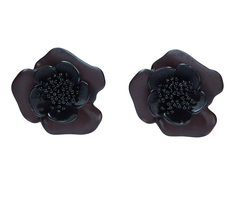 Designer earring single flower button Sachin & Babi  Black. Boutons de fleur noire