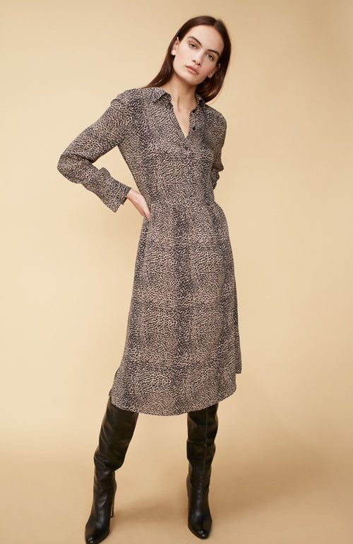 SET Long Sleeve Animal Print Button Up Dress