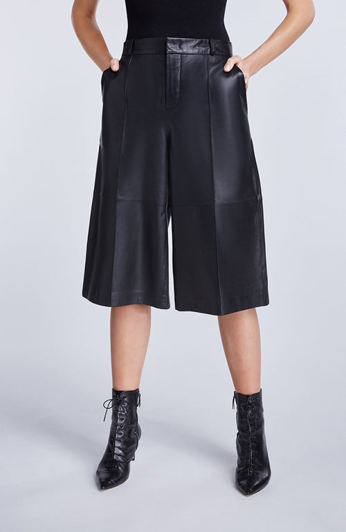 SET Black Leather Gaucho Pants