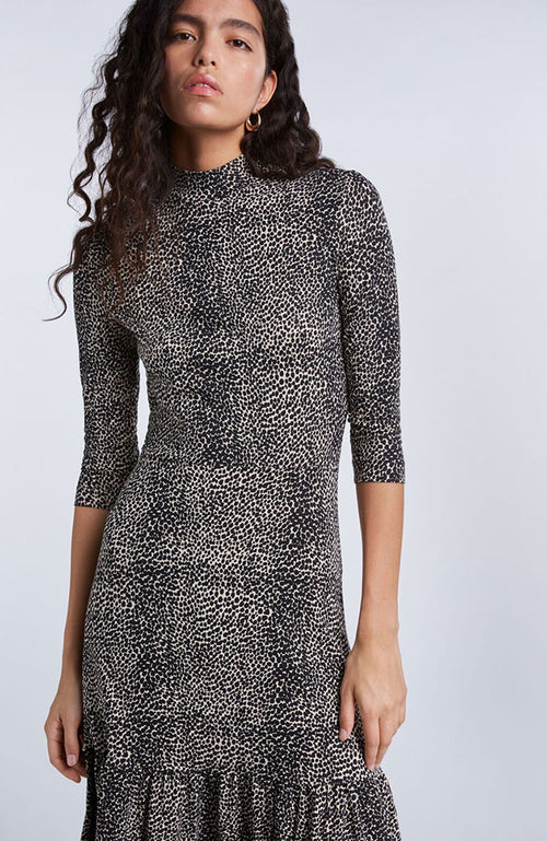 SET Long Sleeve Animal Print Mock Neck Dress