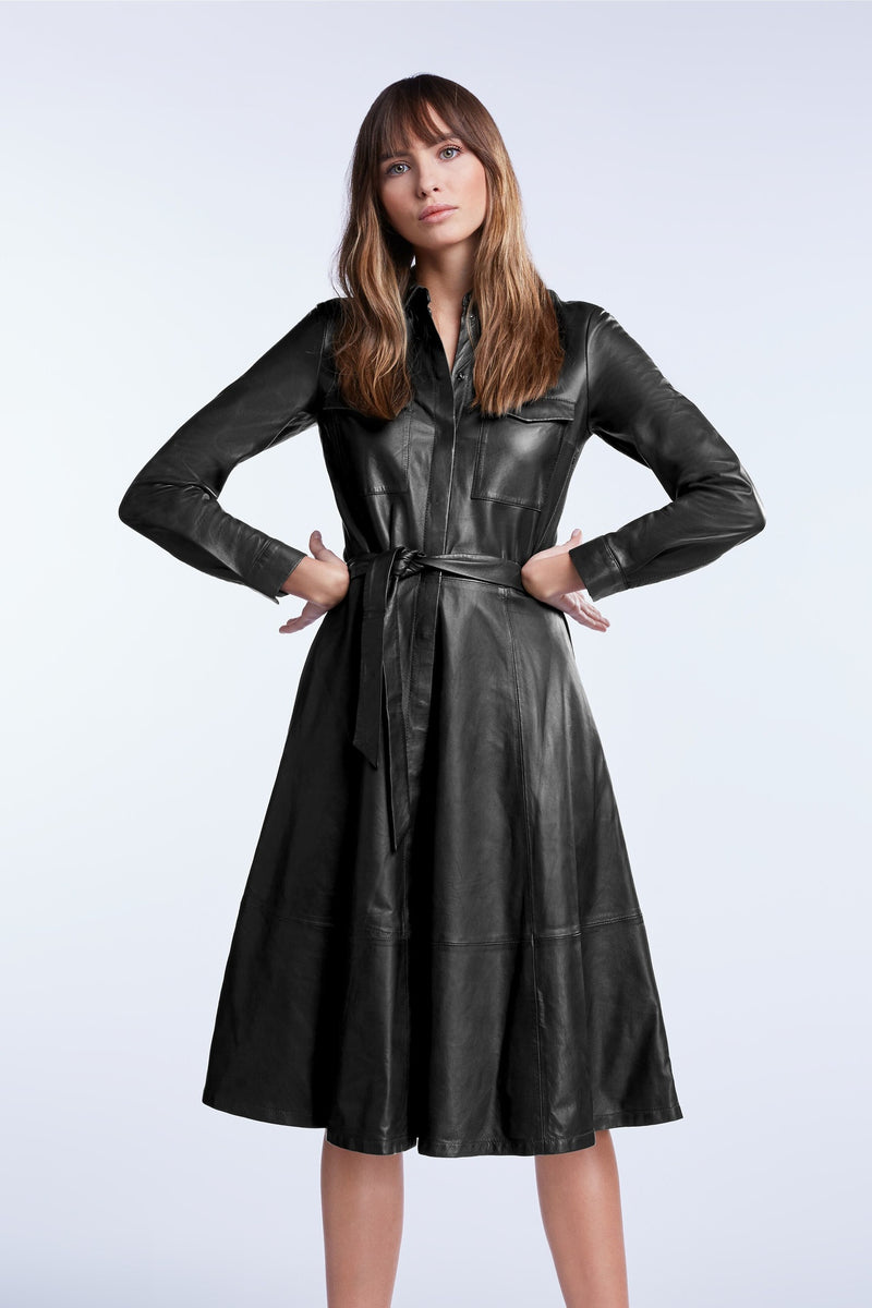 Set Salome A-Line Black Leather Dress. Robe en cuir noir