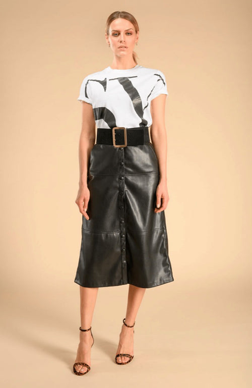 SEVENTY A-Line Black Leather Midi Skirt. Jupe midi en cuir noir