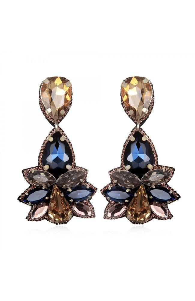 SUZANNA DAI Khepri Crystal Earrings Navy Pendants d'oreilles