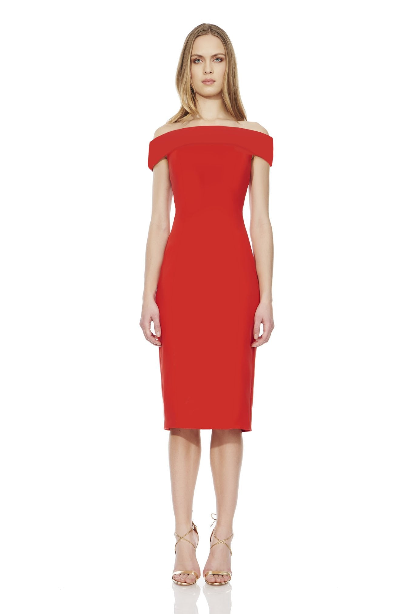 THEIA-  Strapless Brocade Red Dress. Robe rouge sans bretelles.