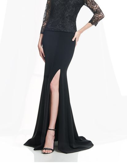 THEIA Crepe Mermaid Skirt with Side Slit. Jupe style sirène avec fente latérale
