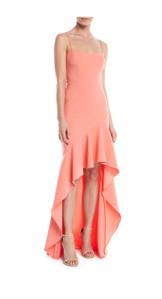 High Low Ruffled Gown Peach. Robe longue