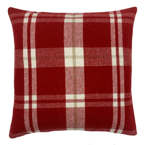 Red Plaid Throw Pillow Cover