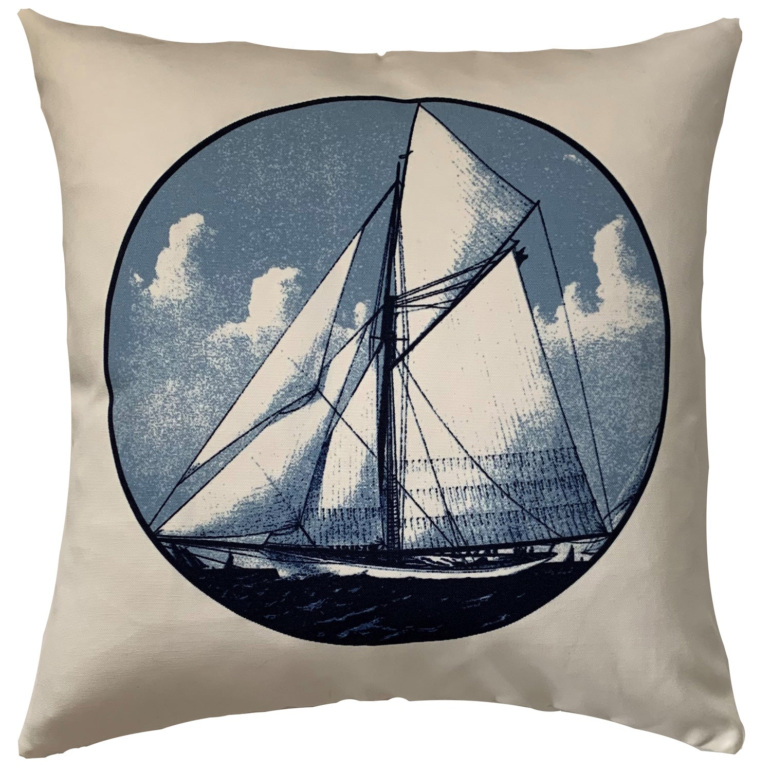 Valerio Blue Sailboat Throw Pillow Cover