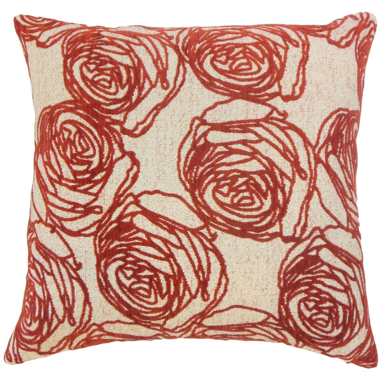 Red Synthetic Floral Contemporary Throw Pillow Cover