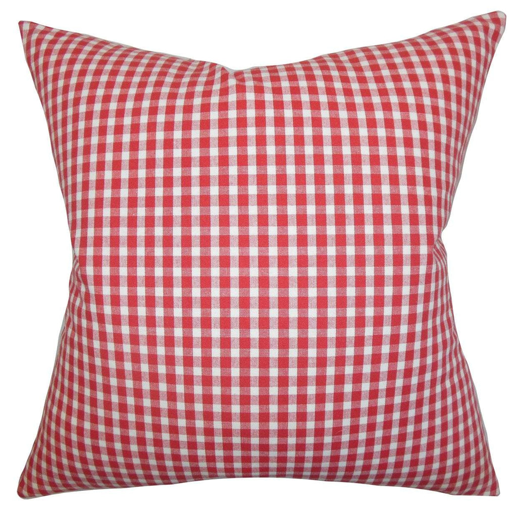 Red Cotton Plaid Contemporary Throw Pillow Cover