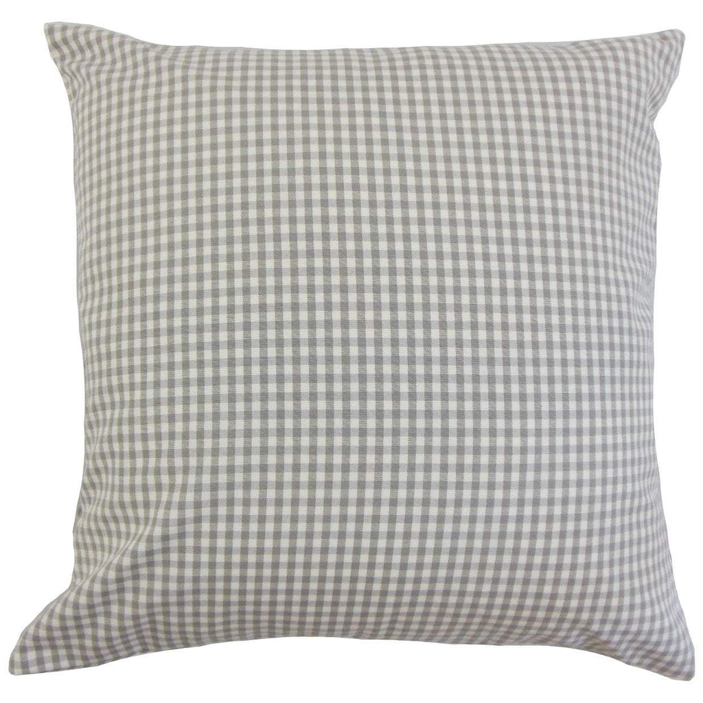 Gray Cotton Plaid Preppy Throw Pillow Cover
