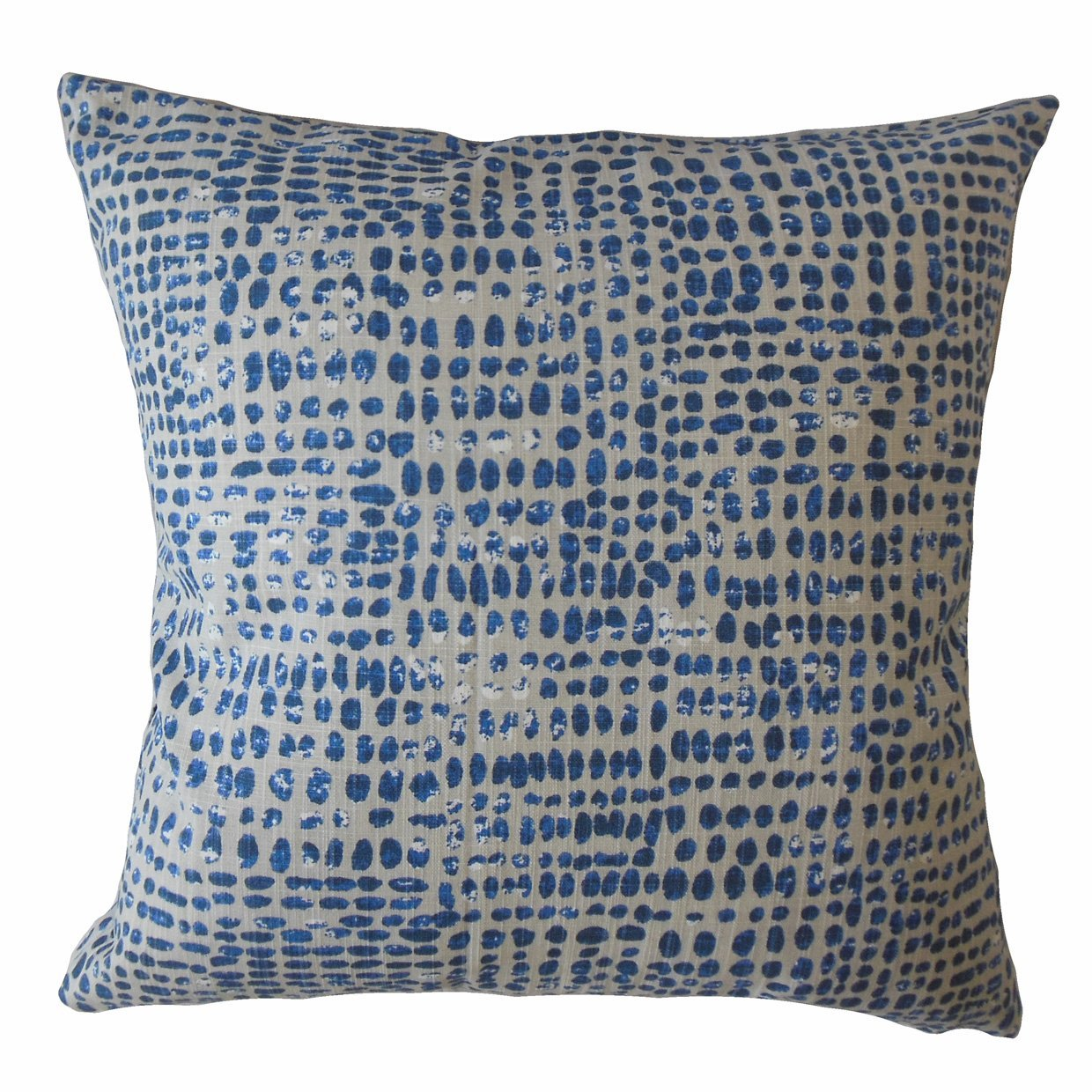Blue Cotton Polka Dot Boho Throw Pillow Cover