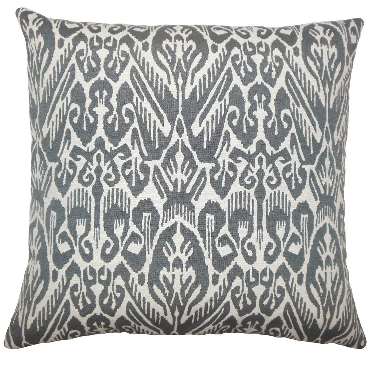 Gray Cotton Ikat Boho Throw Pillow Cover