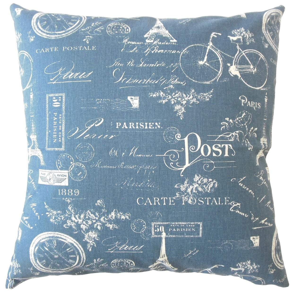 Navy Cotton Graphic Contemporary Throw Pillow Cover