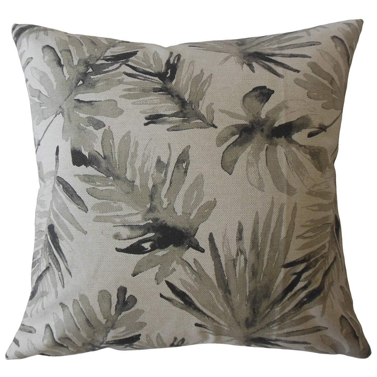 Black Cotton Floral Contemporary Throw Pillow Cover