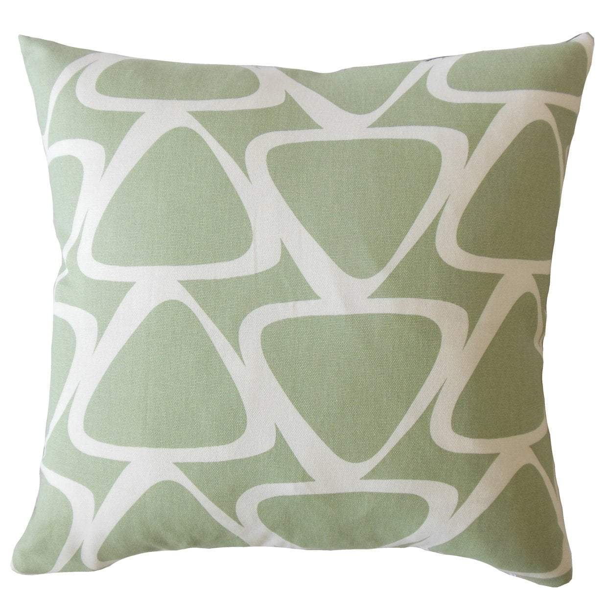 Green Cotton Geometric Contemporary Throw Pillow Cover