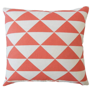 Orange Cotton Geometric Contemporary Throw Pillow Cover