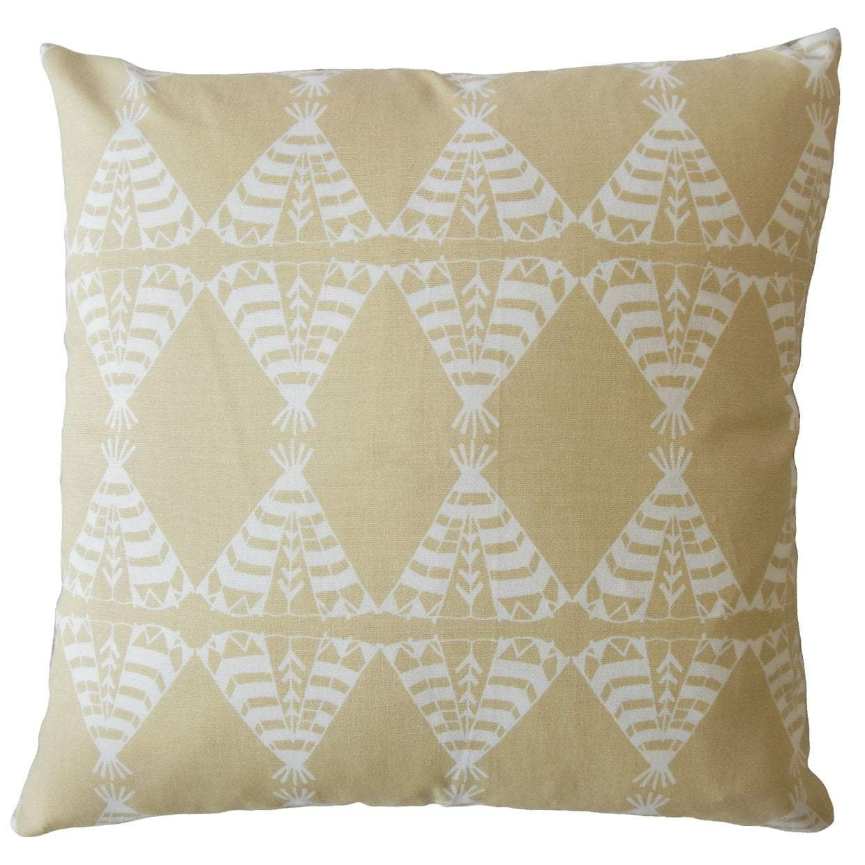 Tan Cotton Graphic Contemporary Throw Pillow Cover