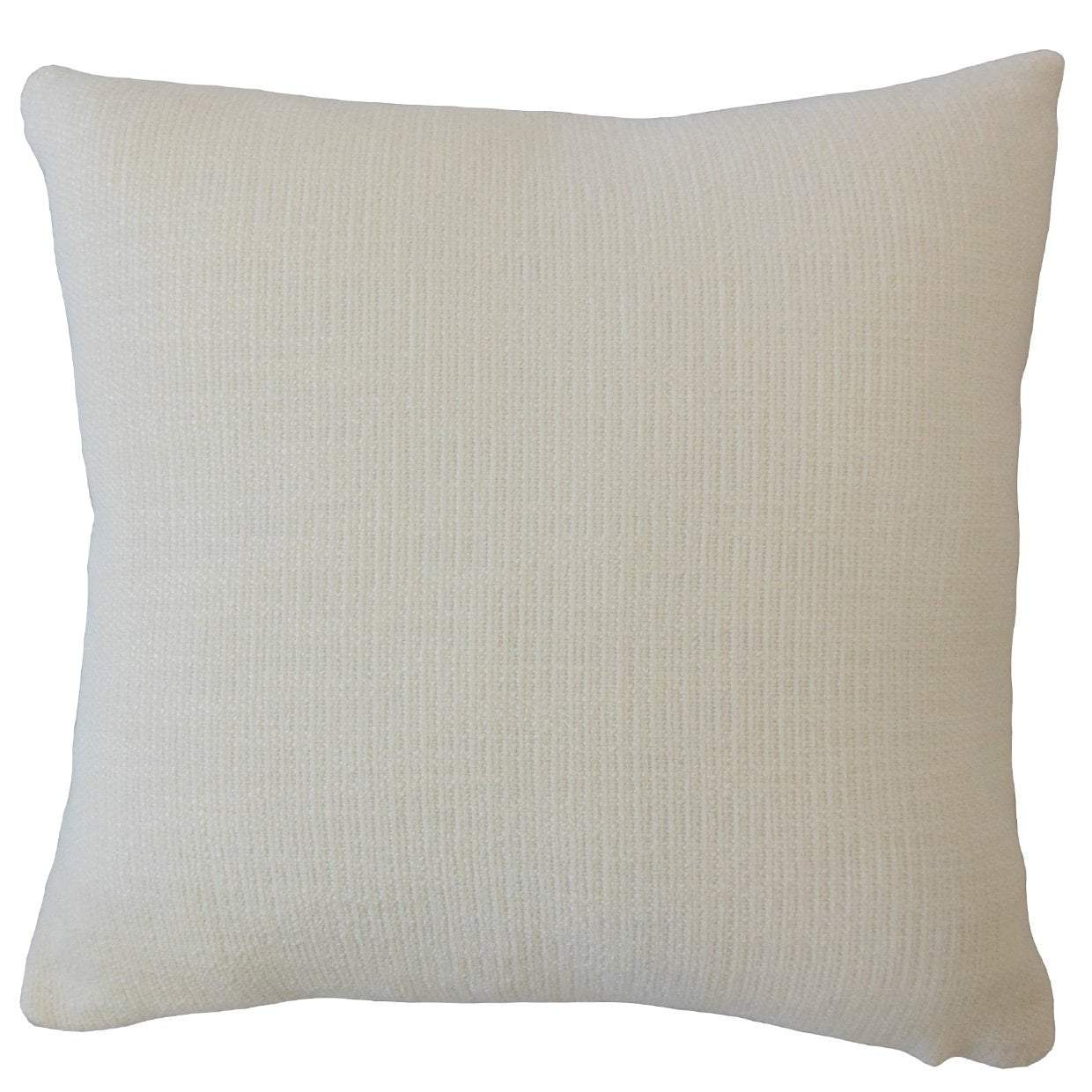 White Synthetic Solid Contemporary Throw Pillow Cover