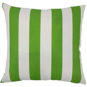Green Synthetic Striped Coastal Throw Pillow Cover