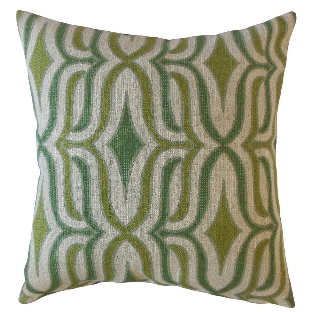 Green Synthetic Geometric Contemporary  Throw Pillow Cover