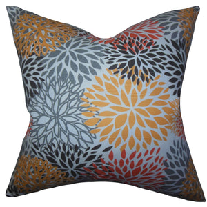 Multi Cotton Floral Contemporary Throw Pillow Cover