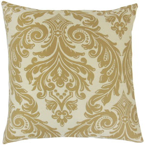 Tan Synthetic Damask Traditional Throw Pillow Cover