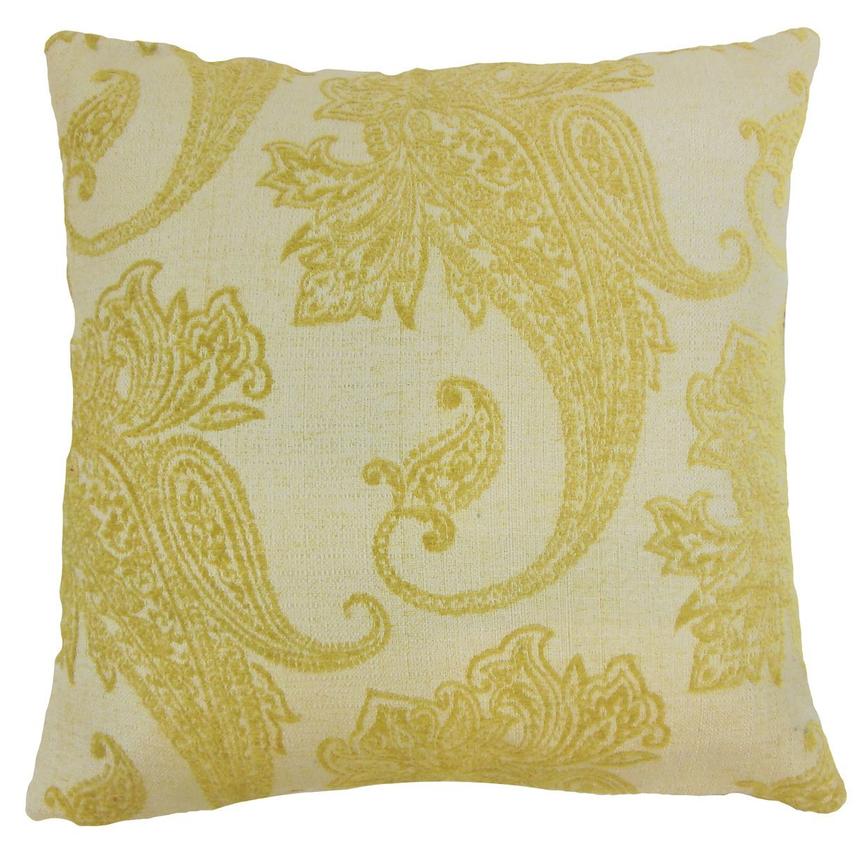 Yellow Synthetic Paisely Traditional Throw Pillow Cover