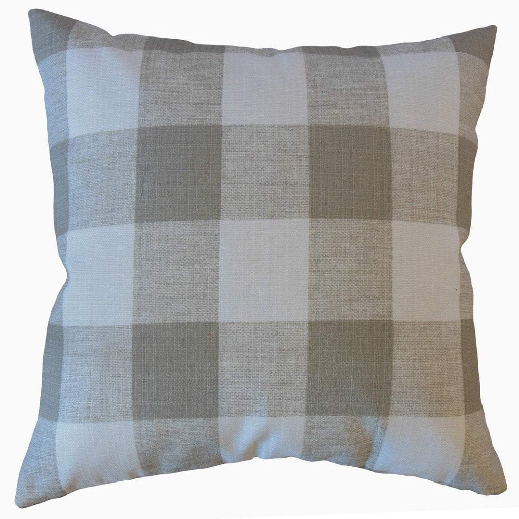 Gray Synthetic Plaid Preppy  Throw Pillow Cover
