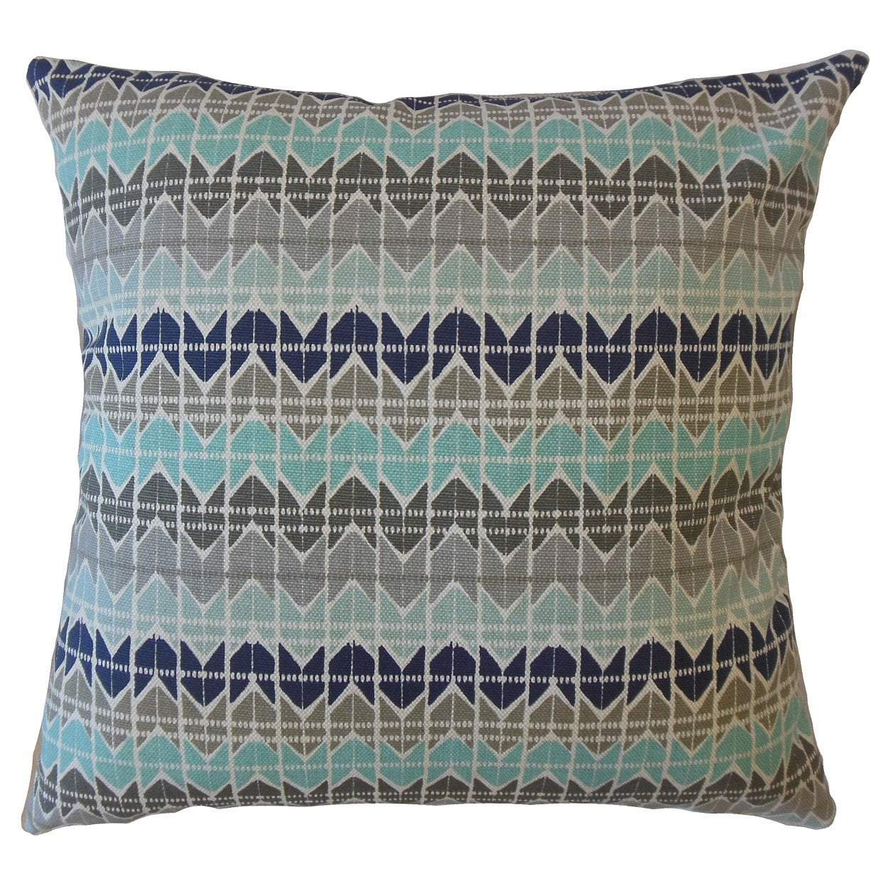 Aqua Cotton Geometric Contemporary Throw Pillow Cover