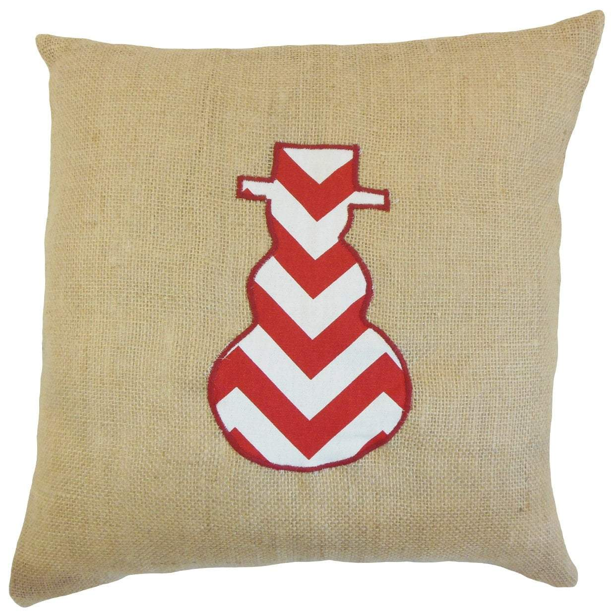 Red Linen Chevron Holiday Throw Pillow Cover