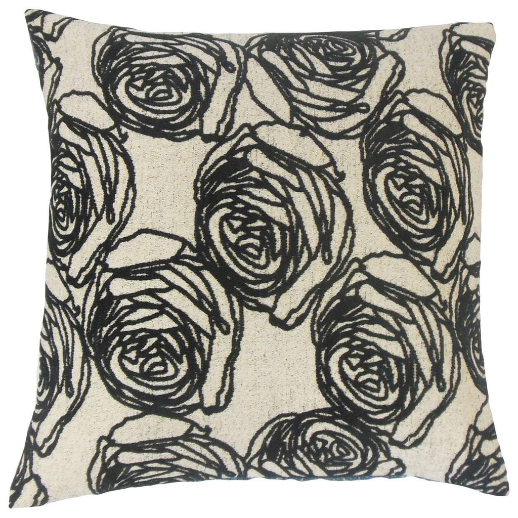 Black Synthetic Floral Contemporary Throw Pillow Cover