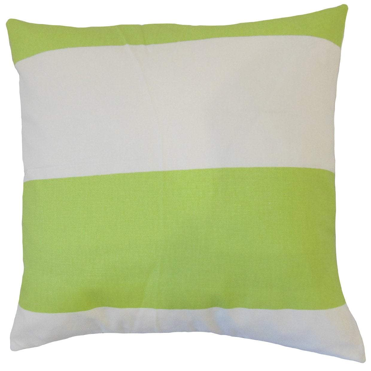 Green Cotton Striped Contemporary Throw Pillow Cover