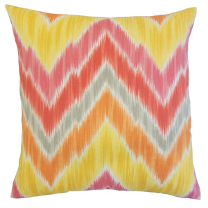 Orange Outdoor Ikat Boho Throw Pillow Cover