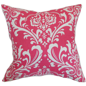 Pink Cotton Damask Contemporary Throw Pillow Cover