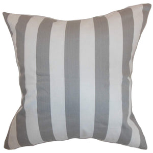 Gray Cotton Striped Contemporary Throw Pillow Cover